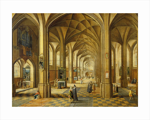 Interior of a Gothic style church with three naves by Hendrik the Younger Steenwyck