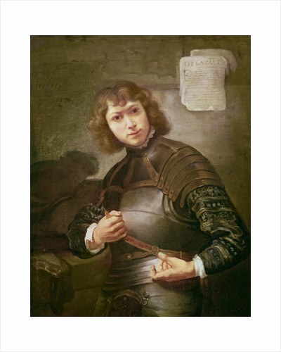 A Young Man in Armour by Rembrandt Harmensz. van Rijn