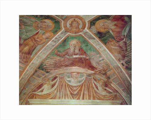 God the Father at the Cornerstone, Christ blessing, on the Ceiling, God the Father blessing by Benozzo di Lese di Sandro Gozzoli