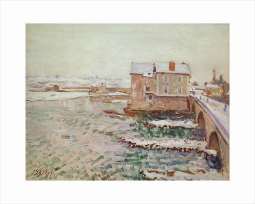 The Moret Bridge during the winter of 1889 by Alfred Sisley