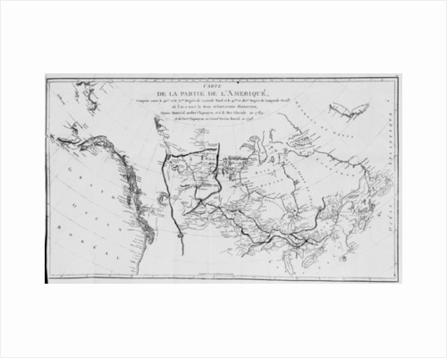 Map of North America, plotting the expeditions of Sir Alexander Mackenzie in 1789 and 1798 to the Arctic Ocean by French School
