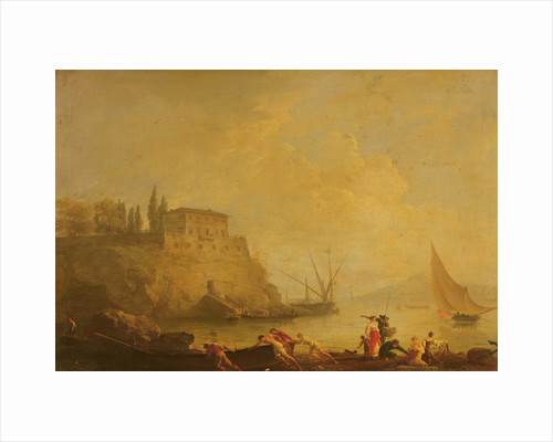 Seascape, sun set: fishermen pushing out a boat by Claude Joseph Vernet