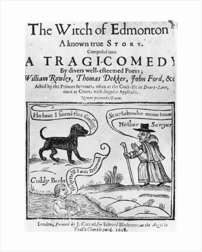"""Frontispiece to """"The Witch of Edmonton, a Known True Story', 1658 by English School"""