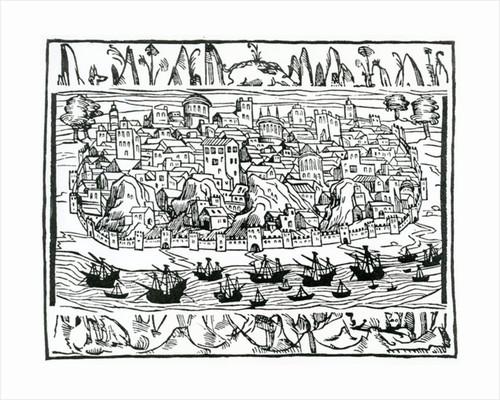 View of Lisbon from 'Libro de Grandezas y cosas Memoralder de Espana' by Pedro Medina by Spanish School