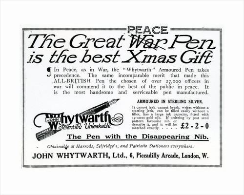 Advertisement 'The Great War Pen is the best Xmas Gift' by Unknown