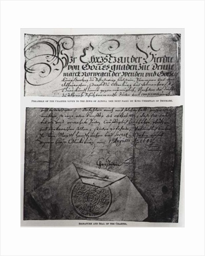 Preamble, signature and seal of the Charter given to the Jews of Altona by King Christian of Denmark by Danish School