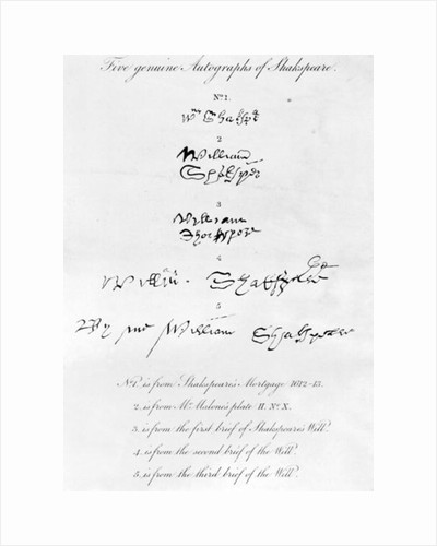 Five Genuine Autographs of William Shakespeare by Unknown