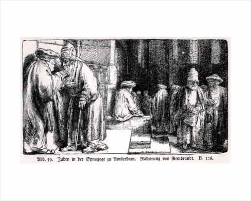 Jews in the Synagogue in Amsterdam by Rembrandt Harmensz. van Rijn