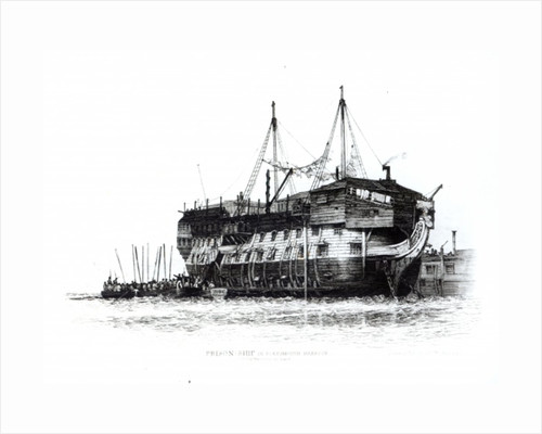 Prison Ship in Portsmouth Harbour: Convicts Going on Board by Edward William Cooke