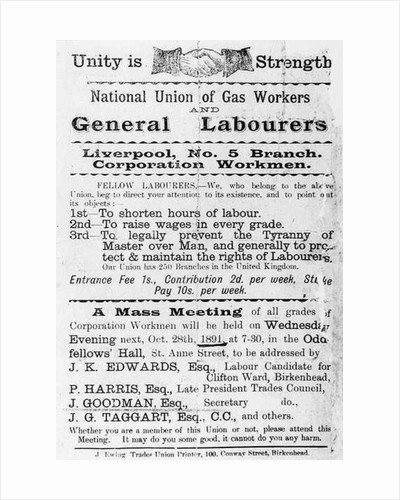 Declaration of the National Union of Gas Workers and General Workers by English School