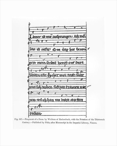 Fragment of a poem by Wolfram of Eschenbach, published by Fetis by German School