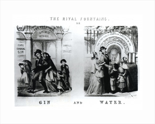 The Rival Fountains or Gin and Water by George Cruikshank