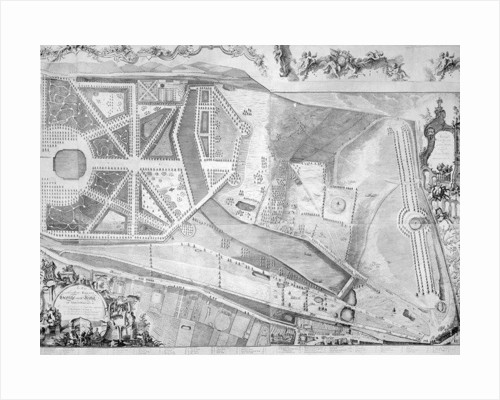 Detail (right side) of the plan of Kensington Palace by Joshua Rhodes by George Bickham