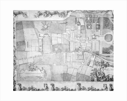 Detail (left side) of the plan of Kensington Palace by Joshua Rhodes by George Bickham