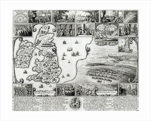 Map of Civil War England and a view of Prague by Wenceslaus Hollar