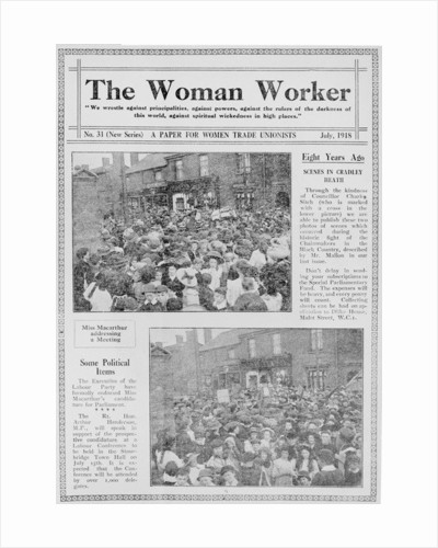 The Woman Worker front page by Anonymous