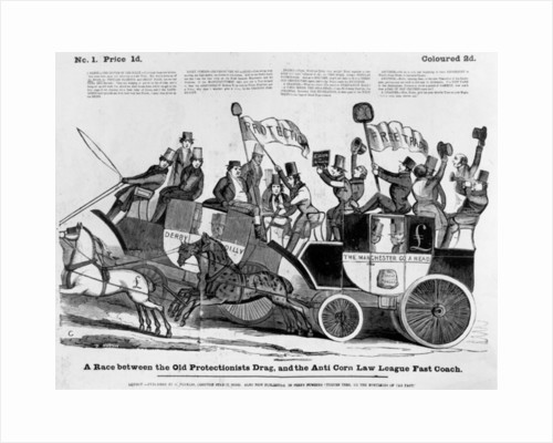 A race between the Old Protectionist Drag, and the Anti Corn Law League Fast Coach by English School