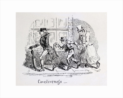 Covetiveness from 'Phrenological Illustrations' by George Cruikshank