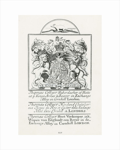 Trade card for Thomas Collyer, Cornhill Haberdasher by English School