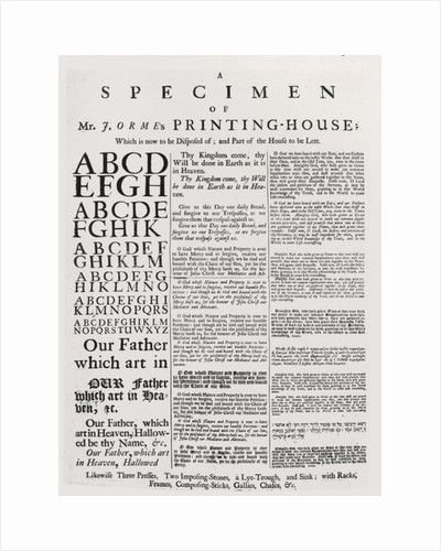A Specimen of Mr. J. Orme's Printing-house by English School