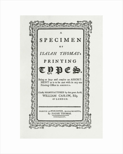 A specimen of Isaiah Thomas's printing types by Anonymous