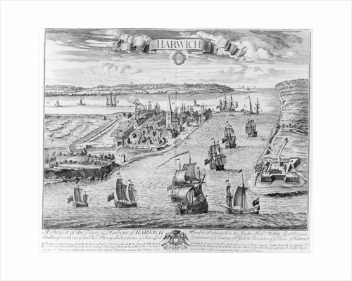 A Prospect of the Towne and Harbour of Harwich by English School