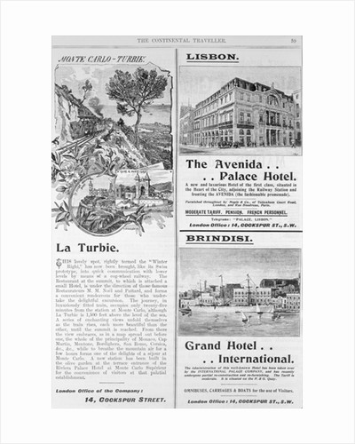 Advertisements for La Turbie Restaurant, The Avenida Palace Hotel and the Grand Hotel International by English School