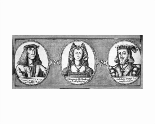 Margaret Tudor with two of her husbands, James IV and Archibald Douglas by English School