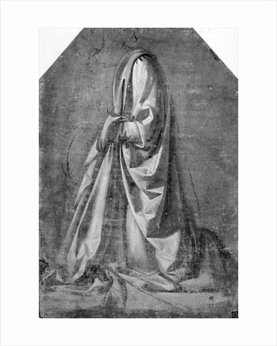 Drapery study for a kneeling figure seen in three-quarter profile to the left by Leonardo da Vinci