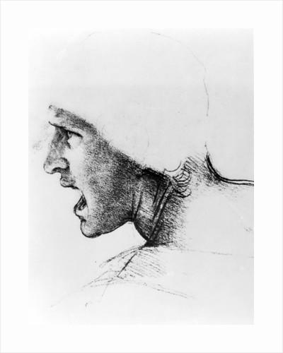 Study for the head of a soldier in 'The Battle of Anghiari' by Leonardo da Vinci