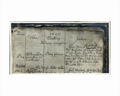 Entry of Handel's Baptism from the Church Register of Marktkirche, Halle, Germany by German School