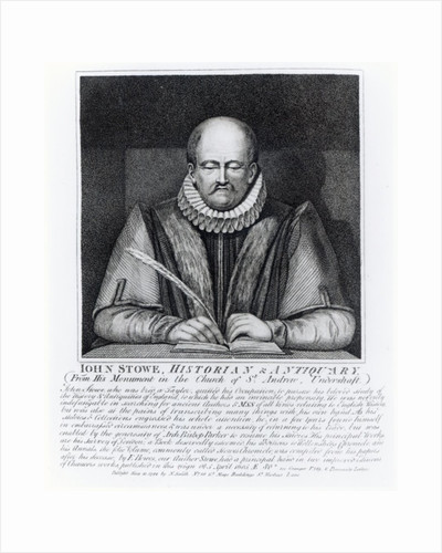 John Stowe, portrait from his monument at the Church of St. Andrew, Undershaft by English School