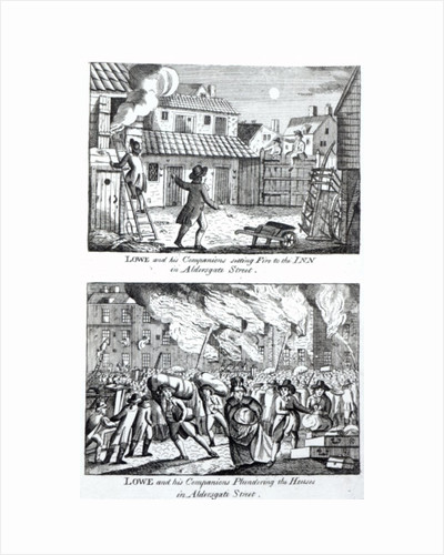 Edward Lowe and his companions setting fire to the inn on Aldersgate Street and plundering the houses by English School