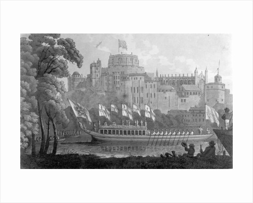 City of London State Barge moving up the River Thames, in front of Windsor Castle, on it's way to Oxford, after a watercolour of 1812 by English School