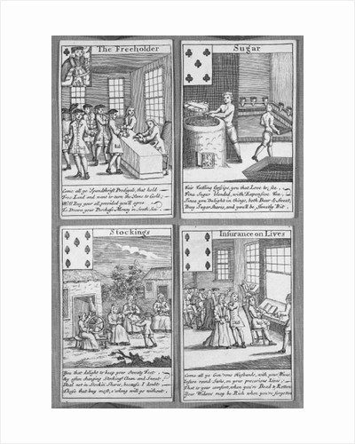 Playing Cards depicting current commercial ventures by English School