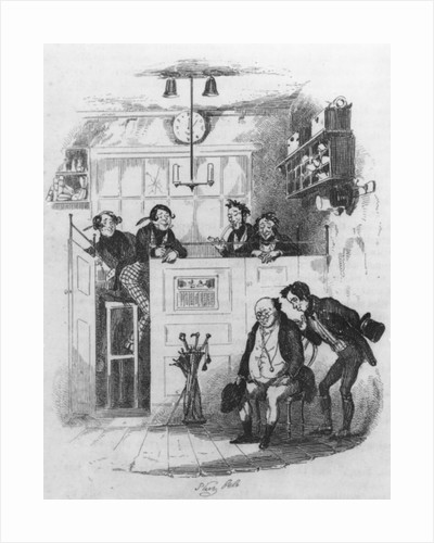 Mr. Pickwick and Sam in the attorney's office by Hablot Knight Browne