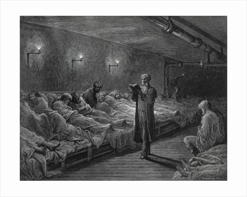 Scripture Reader in a Night Refuge by Gustave Dore