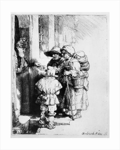 Beggars receiving alms by Rembrandt Harmensz. van Rijn