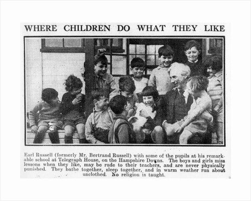 Bertrand Russell with pupils at his Beacon Hill School by English Photographer