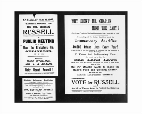 'Why didn't Mr. Chaplin mind the baby?', posters from Bertrand Russell's election campaign by English School