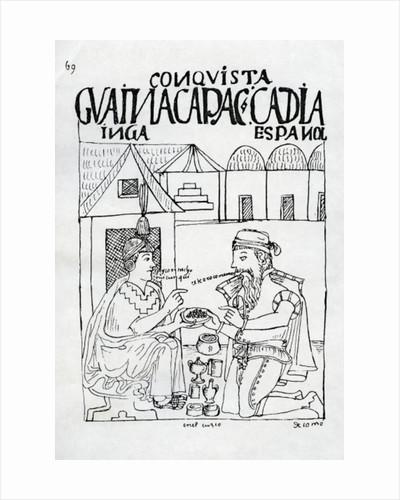 An Inca asks a Spaniard what he eats, he replies 'Gold' by Felipe Huaman Poma de Ayala