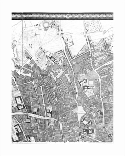 A Map of Clerkenwell, City of London by John Rocque