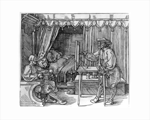 A draughtsman taking details for a portrait, using a perspective apparatus for drawing onto glass by Albrecht Dürer or Duerer