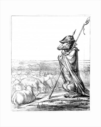 'La Fontaine Renewed', Prussian Wolf disguised as a shepherd to guard German sheep by Honore Daumier