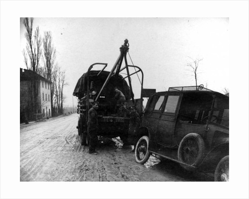 British soldiers towing a motor vehicle in Italy during WWI by English Photographer