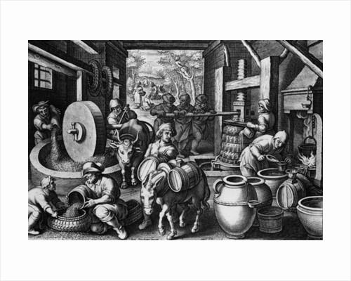 Oleum Olivarum, plate 12 from 'Nova Reperta' by Jan van der Straet