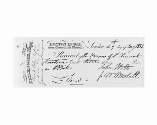 Reciept of payment received by Sir Jonathan Miles' asylum at Hoxton House by English School
