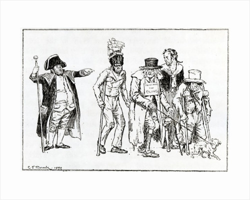 Illustration for the essay 'A Complaint of the Decay of Beggars in the Metropolis' by Charles Lamb by Charles Edmund Brock