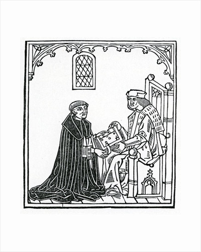 Alexander Barclay presenting his book to his patron Thomas Cornish by English School
