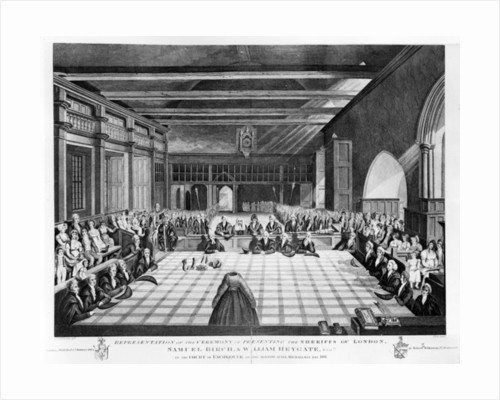 Representation of the Ceremony of Presenting the Sheriffs of London, Samuel Birch and William Heygate Esqs. in the Court of the Exchequer on the morrow after Michaelmas day 1811 by C. John Mayle Whichelo